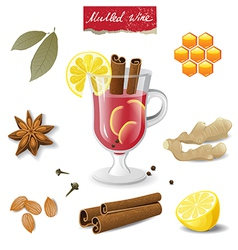 Mulled wine icons vector