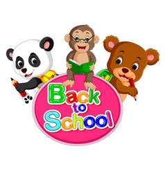 panda monkey and a bear are going back to school vector image