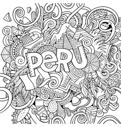 Peru hand lettering and doodles elements vector image