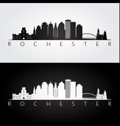 Rochester usa skyline and landmarks silhouette vector