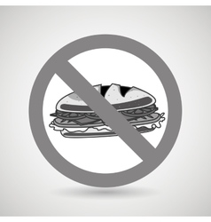 Sandwich fast food unhealth prohibited vector