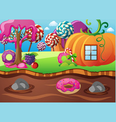 Scene with pumpkin house and chocolate river vector