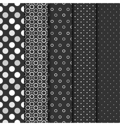 Set of seamless patterns with cirlces and dots vector