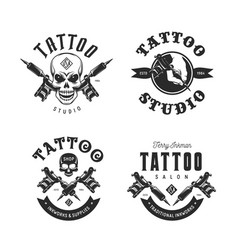 tattoo studio emblems set vintage vector image vector image