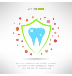 Tooth in a shield icon with bacteria around Teeth vector image