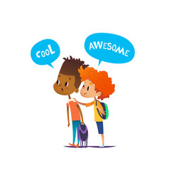 Two multiracial boys with backpacks stand amazed vector