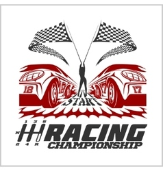 Car racing emblem and championship race badge vector