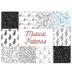 Musical notes and instruments pattern backgrounds vector