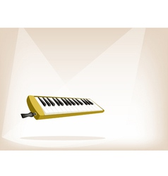 A musical melodica on brown stage background vector