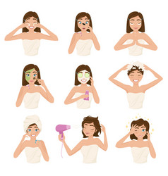 Woman morning routine icon set vector