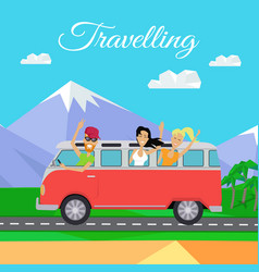People traveling by minibus vector