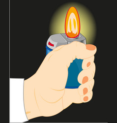 hand with cigarette-lighter in the dark vector image