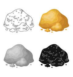 golden ore icon in cartoon style isolated on white vector image