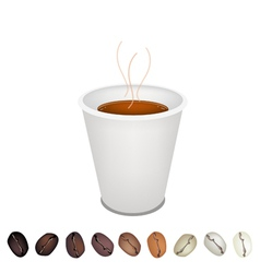 Coffee mug and beans vector
