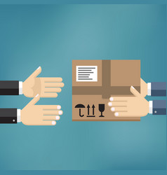 Hands giving cardboard package to another hands vector