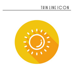Sun line simple icon weather symbols meteorology vector