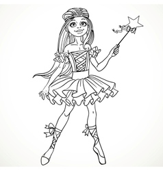 Cute dancing ballerina Fairy black outline for vector image