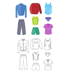 Man set tricot clothes colored vector