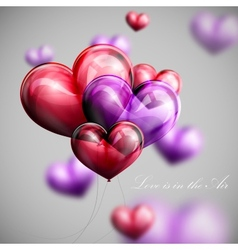Bunch of multicolored balloon hearts vector