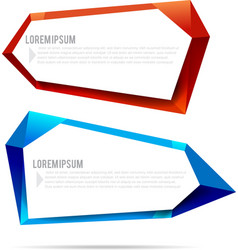 Set of label banner polygon element background vector