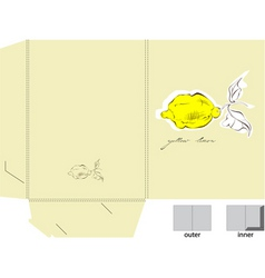 Decorative folder with a yellow lemon vector