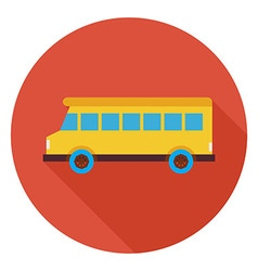 Flat transportation school bus circle icon with vector