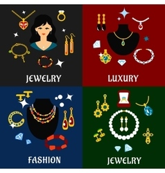 Jewelry and accessories flat icons vector