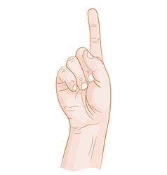 Hand with forefinger held up vector