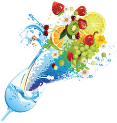 Water and fruit cocktail vector