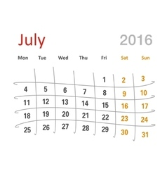 July 2016 calendar funny grid vector