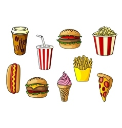 Fast food snacks desserts and drinks vector