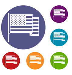 American flag icons set vector
