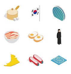 Asian country icons set isometric style vector