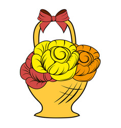 basket flowers icon cartoon vector image
