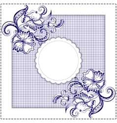 Card with hand-drawing pattern and frame vector image vector image