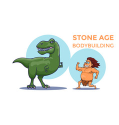 Cartoon stone age bodybuilding competition cave vector