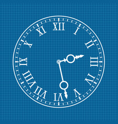 Clock face with roman numerals white drawing on vector