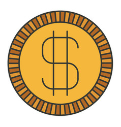 Colorful silhouette of coin with money symbol vector