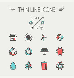 ecology thin line icons vector image