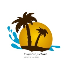 Flat picture palm on island sunset landscape vector image vector image