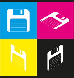 Floppy disk sign white icon with vector