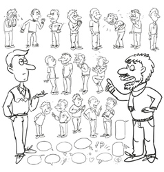 Hand drawn comic collection of men vector image vector image