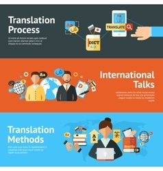 Language translator banner set vector