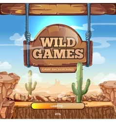 Loading screen with title for a Wild West game vector image