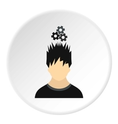 Male avatar and gear icon flat style vector
