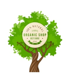 Organic shop emblem over green tree vector image vector image