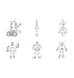 Robot doodles set vector
