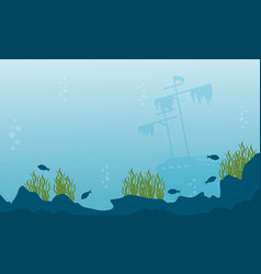 Silhouette of ship and fish on ocean landscape vector