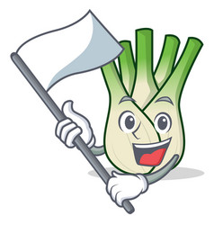 With flag fennel mascot cartoon style vector