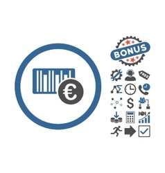Euro barcode flat icon with bonus vector